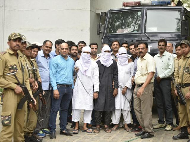 Suspected terrorists arrested by Delhi Police Special Cell in New Delhi.