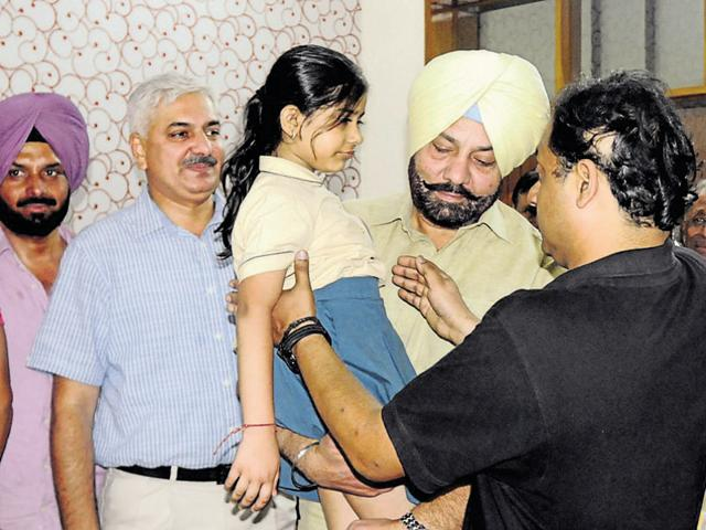 Shanvi Gupta, who was kidnapped while going to school, after being freed in Patiala on Wednesday.