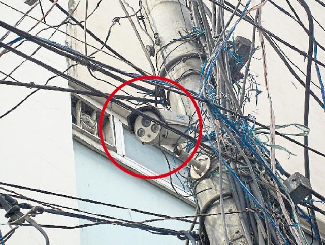 A CCTV camera installed at Gandhi Chowk in Pathankot.