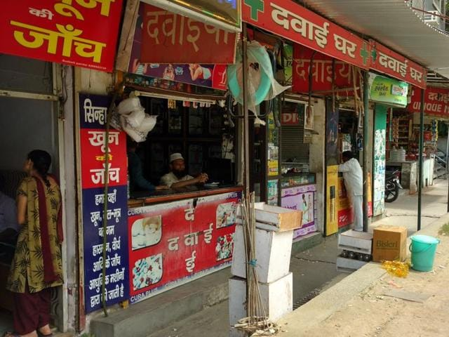 Private medical stores  remain empty even during peak OPD hours.