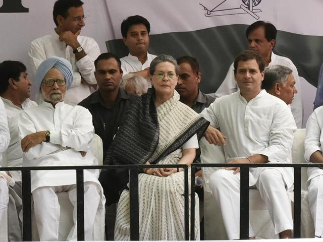Congress' president Sonia Gandhi, vice-president Rahul Gandhi and the former prime minister Manmohan Singh were among the party leaders who participated in the 'Loktantra Bachao March' (Save Democracy) at Jantar Mantar in New Delhi on May 6, 2016.
