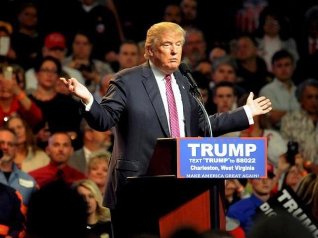 Republican US presidential candidate Donald Trump speaks to supporters in Charleston on Thursday.