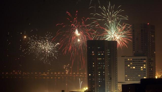 Diwali fireworks as seen from Cuffe Parade in Mumbai.