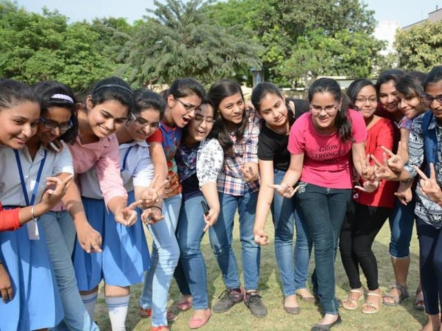 Students celebrate their success after declaration of ICSE and ISC results  on Friday.
