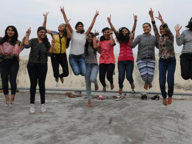 Students celebrating after the ICSE results were declared on Friday.