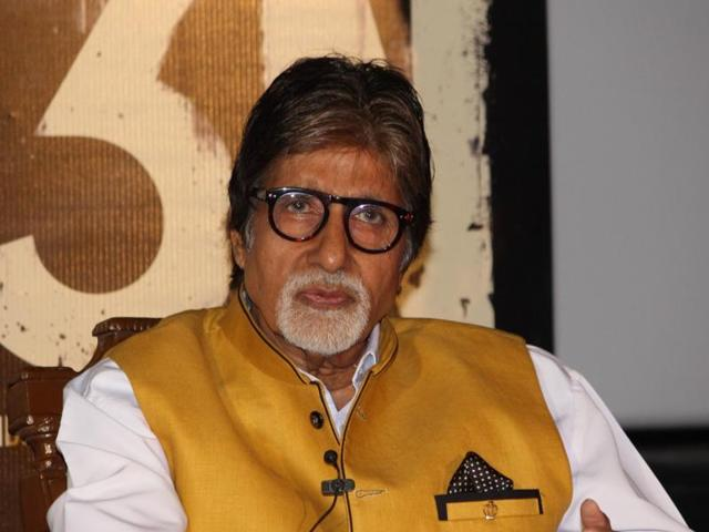 Actor Amitabh Bachchan during the trailer launch of film Te3n, in Mumbai on Thursday.
