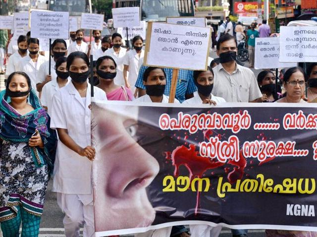 Nurses march in front of the Secretariat in Thiruvananthapuram to protest the incidents of rape in the state.