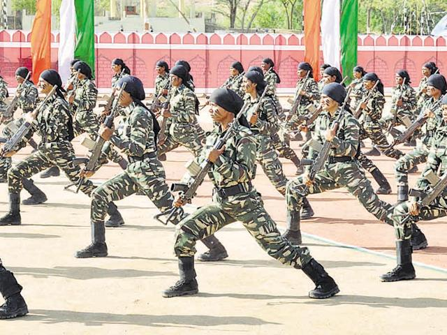 Women CRPF cadets perform security drills in Ajmer on Friday.