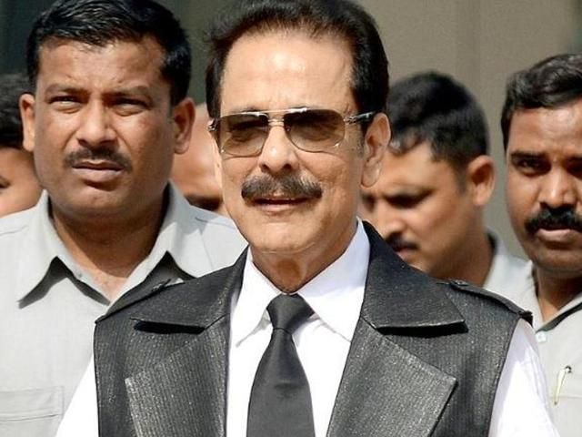 In this photograph taken on April 10, 2013, Sahara group's chairman Subrata Roy leaves the SEBI head office in Mumbai.