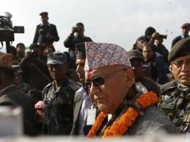 Communist Party of Nepal (Unified Marxist–Leninist) leader Khadga Prasad Oli  at a press conference in Kathmandu