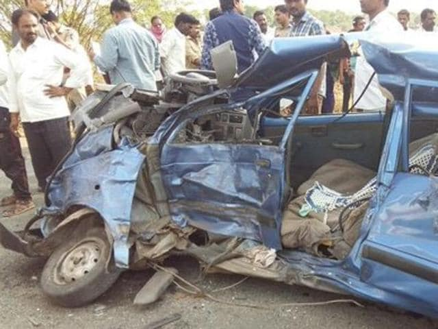 A man was killed when a car collided with an escort vehicle in Maharashtra minister Ram Shinde's convoy on Saturday.