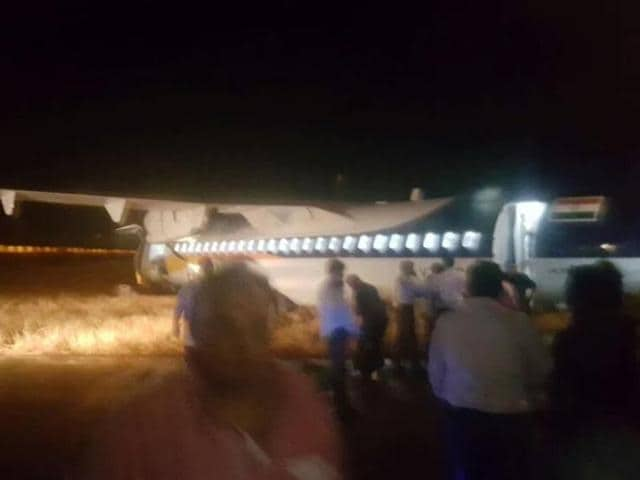 A Jet Airways aircraft with 66 passengers and four crew members onboard skidded off the runway after landing at the Indore airport on Saturday evening.