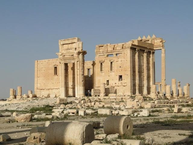 Temple of Bel destroyed by the Islamic State militants last August.
