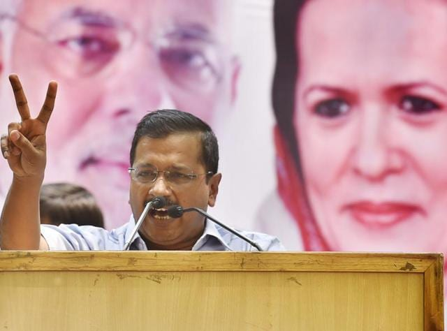 Delhi chief minister Arvind Kejriwal during a protest rally against the Modi government at Jantar Mantar in New Delhi on May 7.
