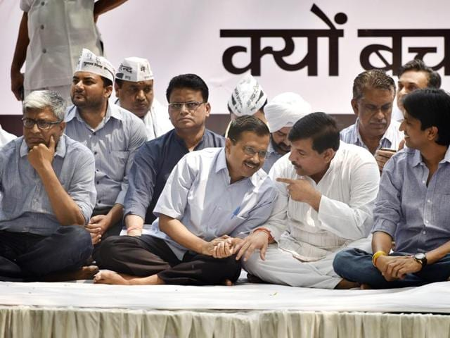 Delhi chief minister Arvind Kejriwal with Aam Aadmi Party leaders at Jantar Mantar in New Delhi.