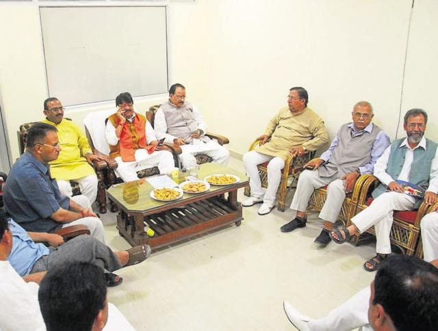 BJP national general secretary Kailash Vijayvargiya holds a meeting of senior party leaders to decide the party's strategy in Dehradun.