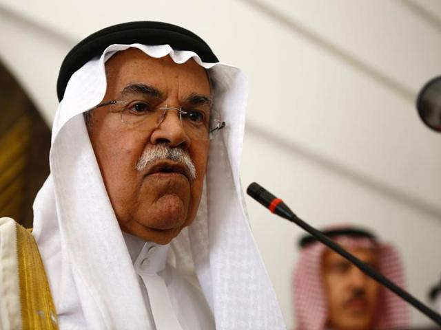 This file photo shows former Saudi oil minister Ali al-Naimi speaking during a press conference.