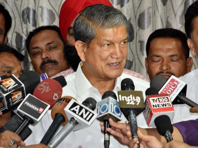 File photo of Harish Rawat addressing a press conference in Dehradun.