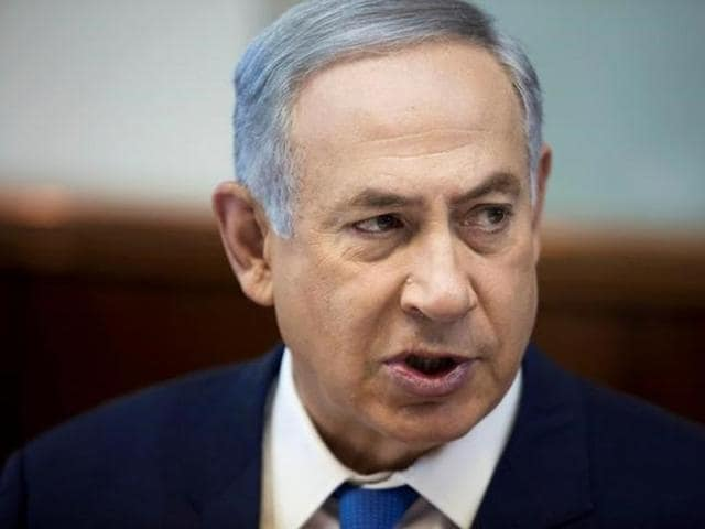 Israeli Prime Minister Benjamin Netanyahu attends the weekly government cabinet meeting in Jerusalem.