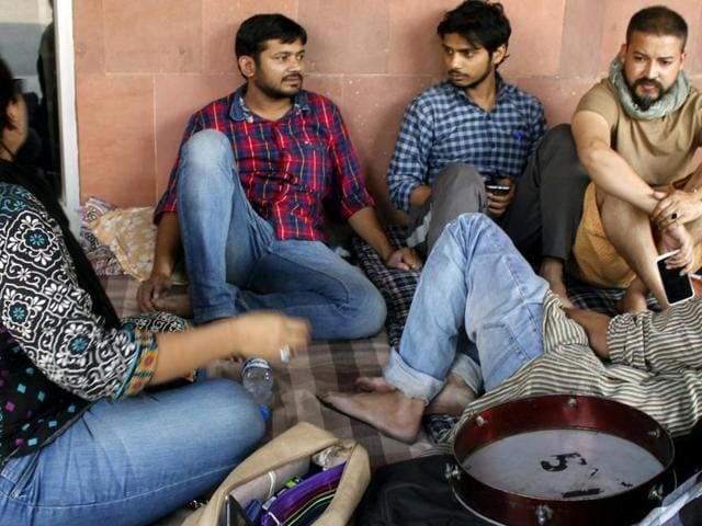 JNUSU president Kanhaiya Kumar and Umar Khalid at JNU. (Photo by / Hindustan Times)