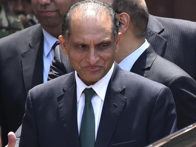 Pakistan's foreign secretary, Aizaz Ahmad Chaudhry, at ministry of foreign affairs in New Delhi.