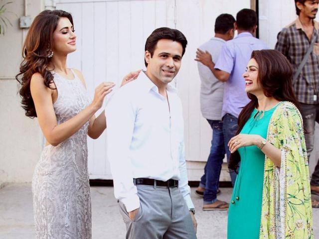 Actors Nargis Fakhri, Emraan Hashmi and Prachi Desai during a poster photo shoot of Azhar in Mumbai.