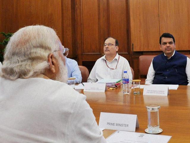 Prime Minister Narendra Modi discusses the drought in Maharashtra with a delegation from the state led by chief minister Devendra Fadnavis in New Delhi.