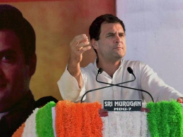Congress vice-president Rahul Gandhi addresses an election rally ahead of Tamil Nadu legislative assembly elections at Umatchikulam, Madurai.