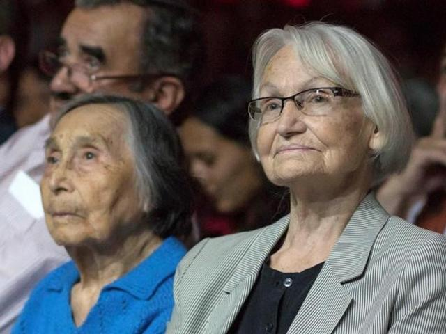 Margot Honecker (R), widow of the former head of East Germany Erich Honecker, is seen during an event of the communist party in Santiago, Chile.