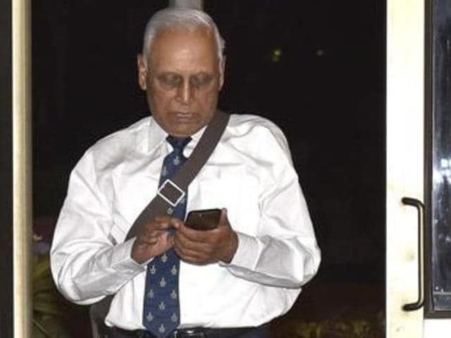 Former IAF chief SP Tyagi leaves from the CBI headquarters after being questioned in connection with the AgustaWestland chopper deal.