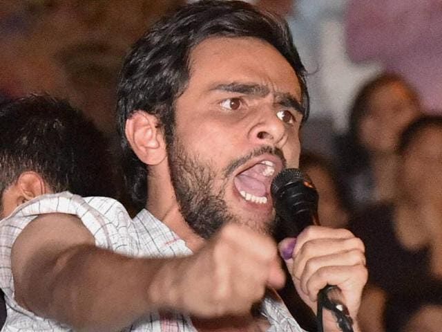 File photo of JNU student Umar Khalid addressing colleagues at the university campus.