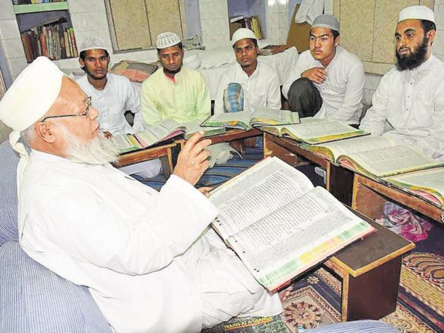 Maulana Chaturvedi teaches over 150 students, most of them from poor families.