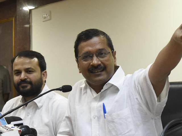 New Delhi, India- May 6, 2016: Delhi Chief Minister Arvind Kejriwal with Cabinet minister for the vice- chairman of Delhi Dialogue Commission (DDC), Ashish Khetan, address a Press conference on the issue of creating Job and Industry in the capital, at Delhi secretariat, India, on Friday, May 6, 2016. ( Photo by Sonu Mehta/ Hindustan Times)