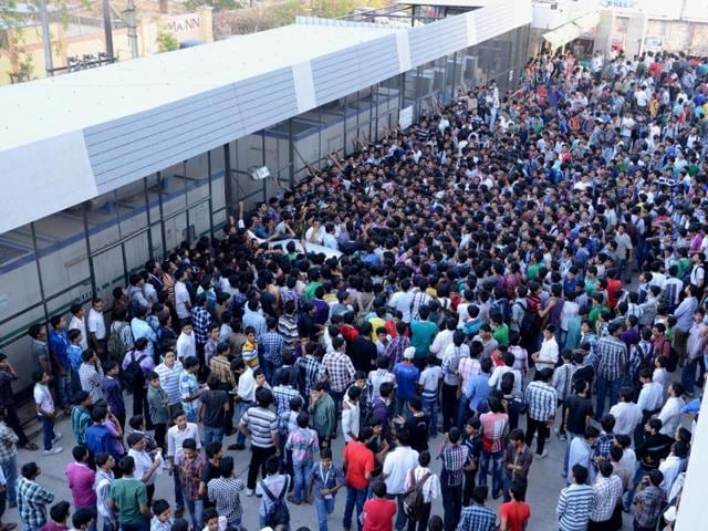 Students preparing for medical entrance test at a coaching centre in Kota. HT photo
