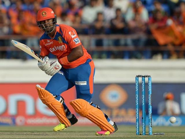 Gujarat Lions batsman Dwayne Smith plays a shot during the IPL match against Kings XI Punjab at The Saurashtra Cricket Association Stadium in Rajkot on May 1, 2016.