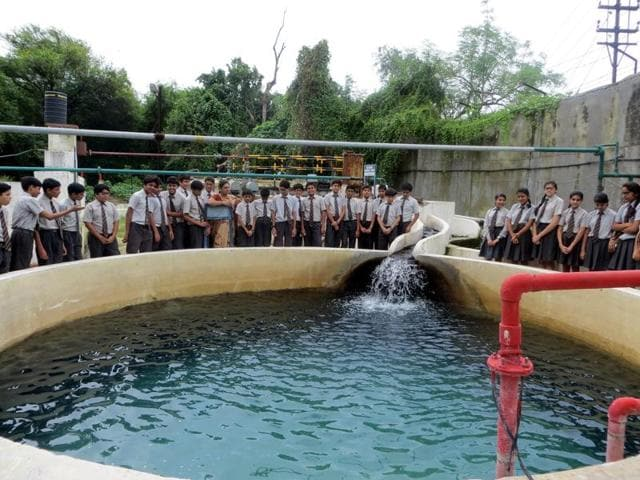 Effluent treatment plant at Choithram School in Indore.