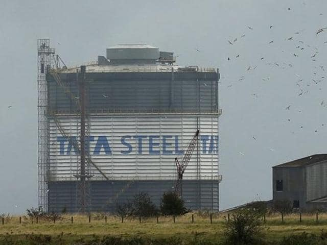 A general view shows the Tata Steel works in Scunthorpe, northern England.