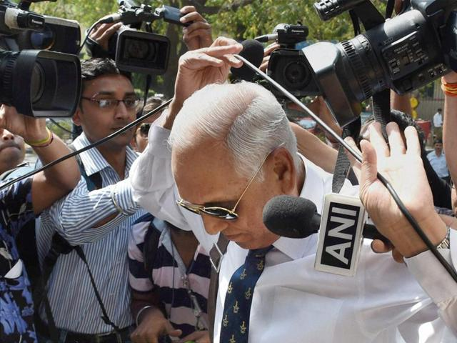SP Tyagi arriving at the CBI headquarters in New Delhi.