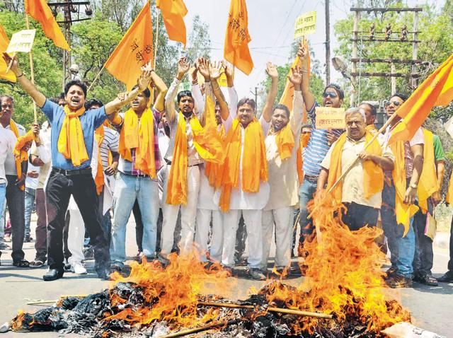 Vociferous protests by Shiv Sainiks are a common sight in Punjab.
