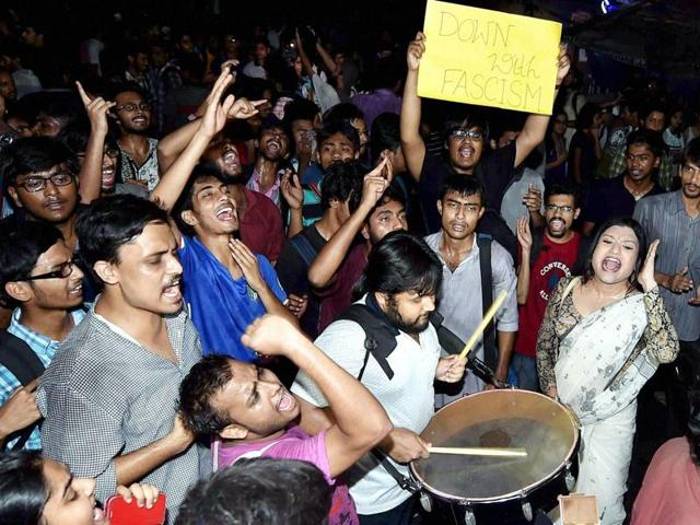 Students of Jadavpur University take out a rally against the BJP and other right-wing organisations in Kolkata.