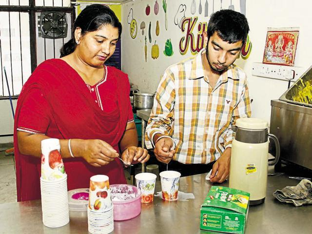 Rashpal Kaur's son Parvesh Singh, 18, is now employed in a canteen run by the administration.