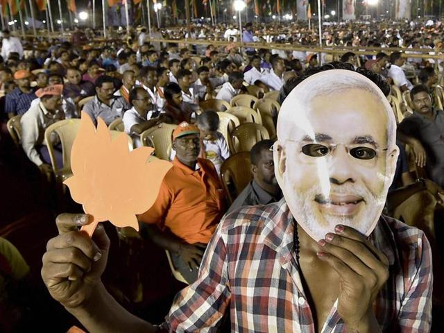 BJP supporters at Prime Minister Narendra Modi's election campaign rally in Chennai.