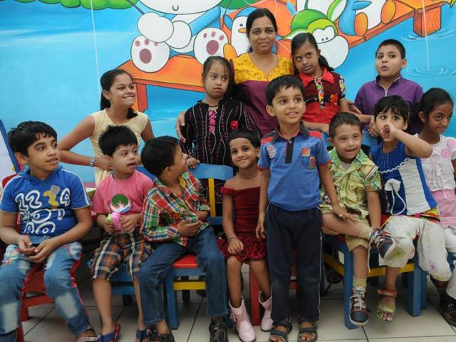 Sapna Gupta along with her 'special' children at NGO Arushi in Bhopal.