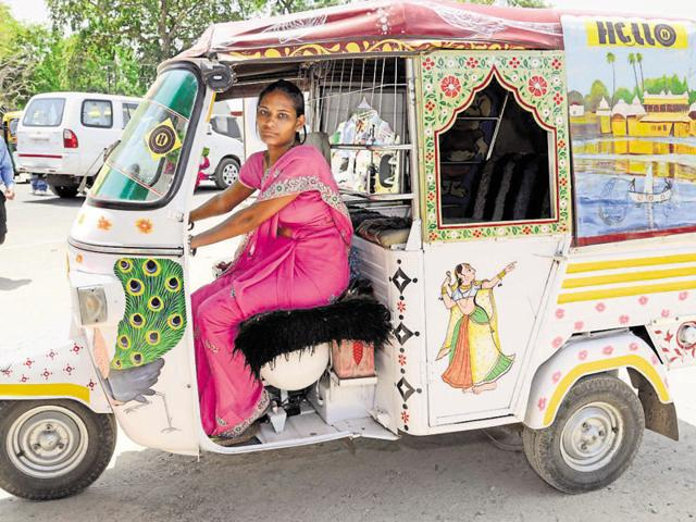 Auto driver Dharmishtha Sharma started driving auto on World Mother's Day in Kota on Sunday.