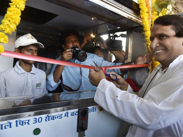 In this file photo, railway minister Suresh Prabu can be seen inaugurating a water ATM machine, at Khar Road railway station in Mumbai.