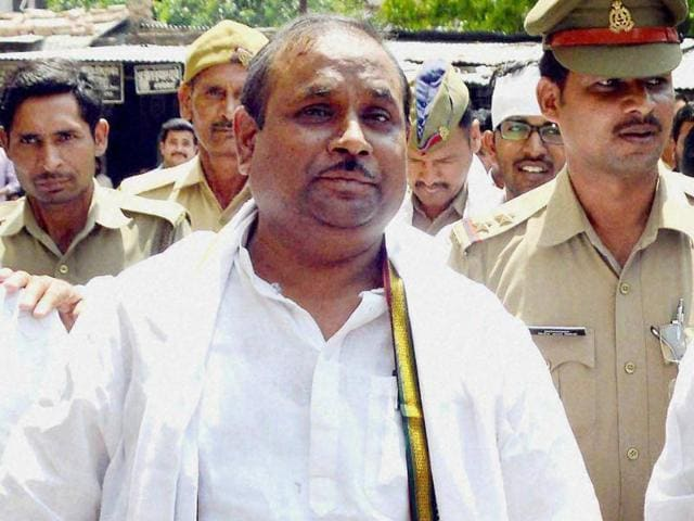 Expelled Samajwadi Party MLA Rampal Yadav being produced at a court in Lucknow..