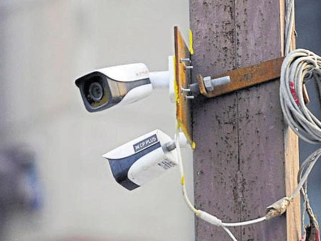 CCTV camera installation at Sector 18, in Noida.