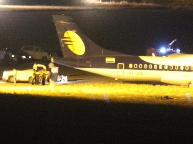Jet Airways aircraft at Indore airport on Saturday.