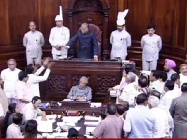 Congress MPs protesting in the Rajya Sabha over the AgustaWestland issue.