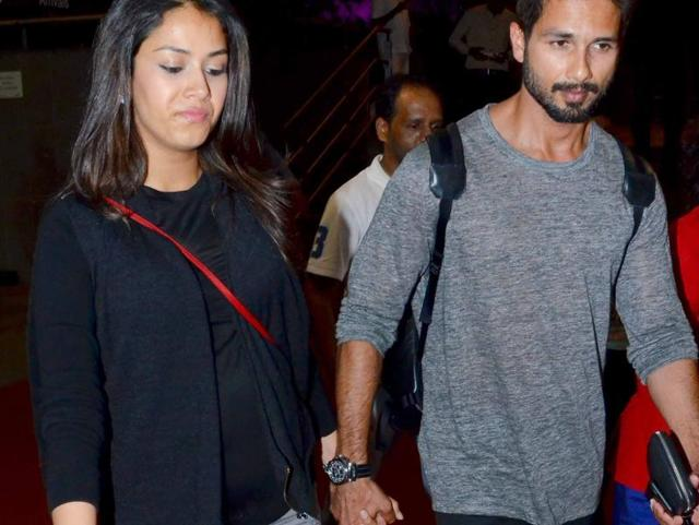 Mira Rajput's baby bump was visible as she walked hand-in-hand with her husband, actor Shahid Kapoor at Mumbai International airport.